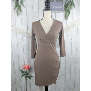 Forever 21 beige tan casual tight fit dress MED